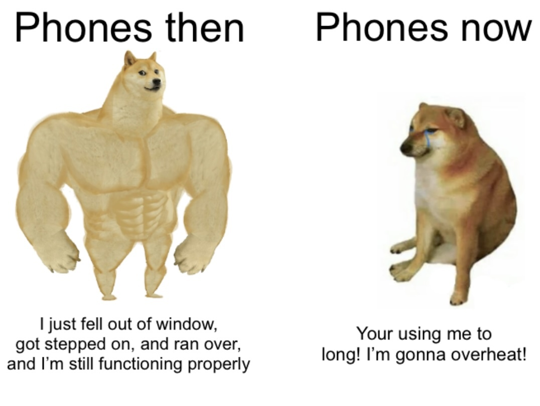 Phones: Then versus now - meme