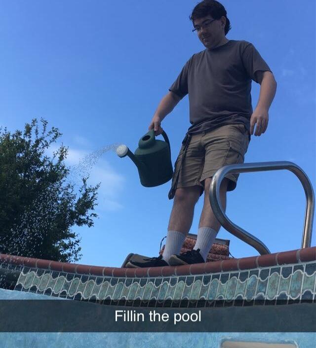 he really fillin the pool - meme