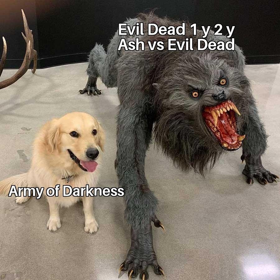 Contexto: De todas las películas de Evil Dead, Army of Darkness es la más suave y family friendly, y siguen la misma continuidad - meme