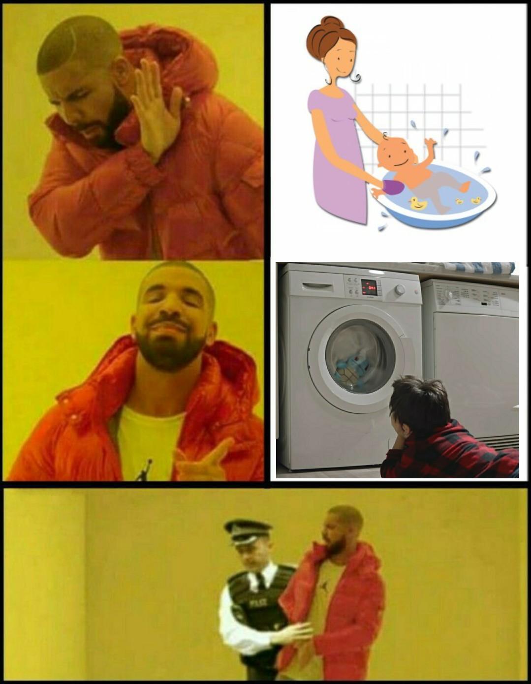 Pas facile de trouver une image avec un gosse dans une machine à laver Bizarre  - meme