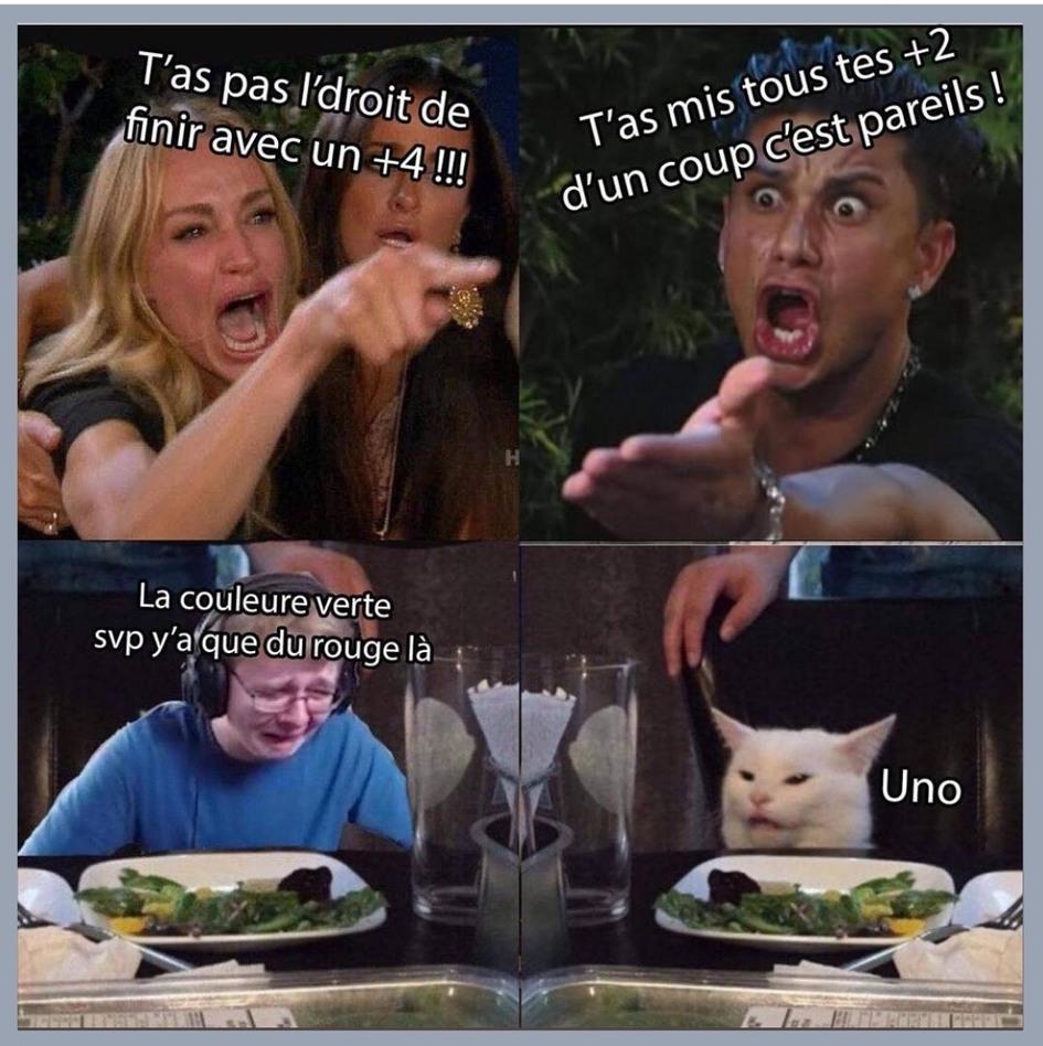 Les différentes personnes pendant une partie de Uno - meme