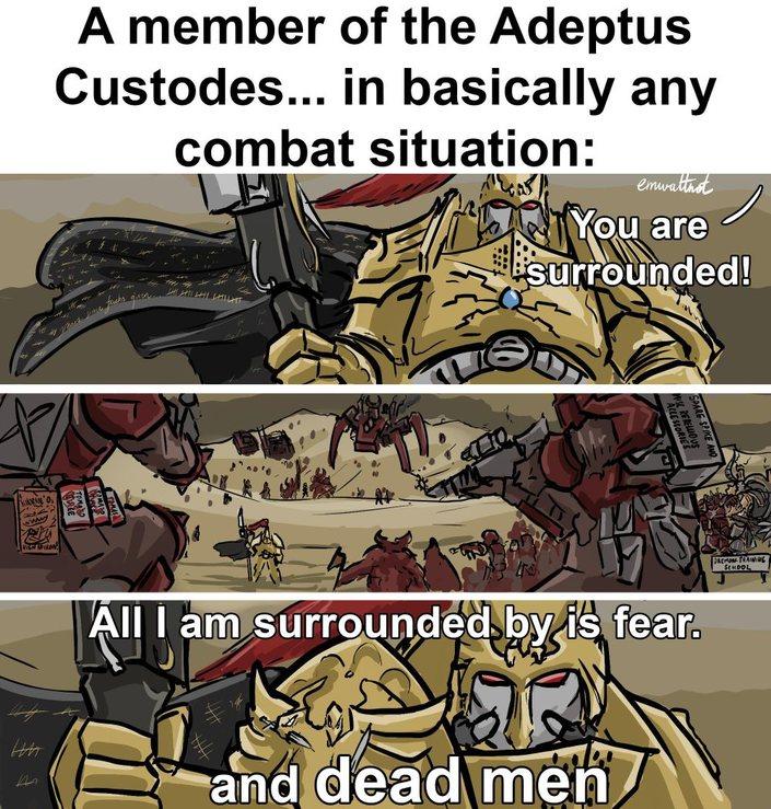 Fear, dead men, and piss - meme