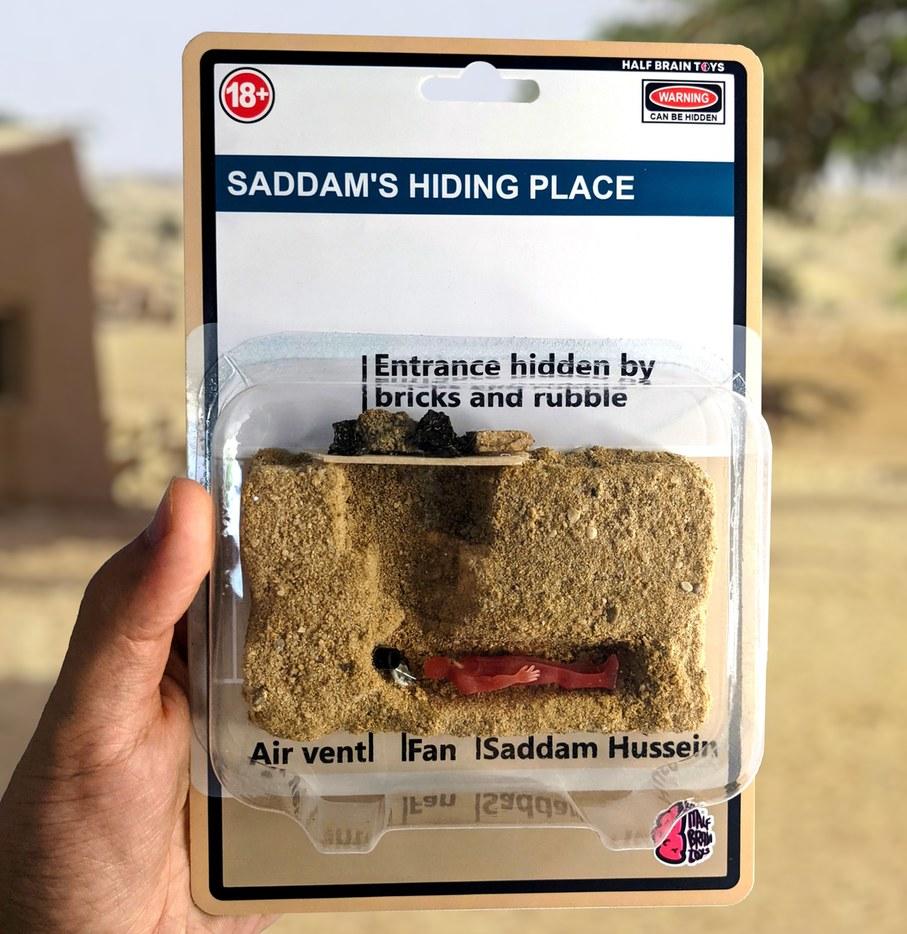 Saddam Hiding Place Action Figure - meme