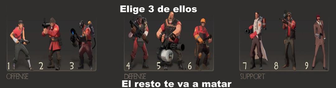 Resumen:el 1 es rapido el 6 puede construir torretas el 7 puede curarte el 9 se puede disfrazarse y hacerse invisible :cool: - meme