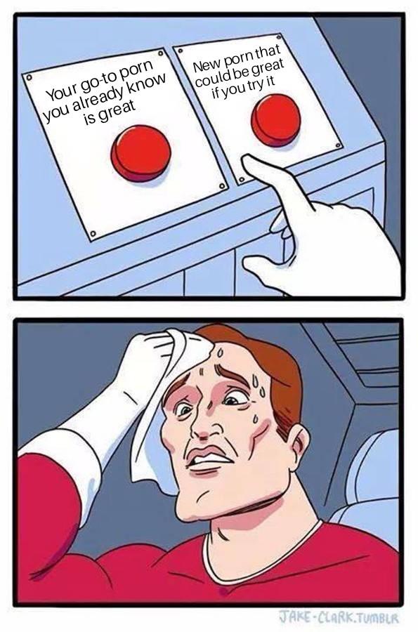 The choice is as hard as my dick - meme