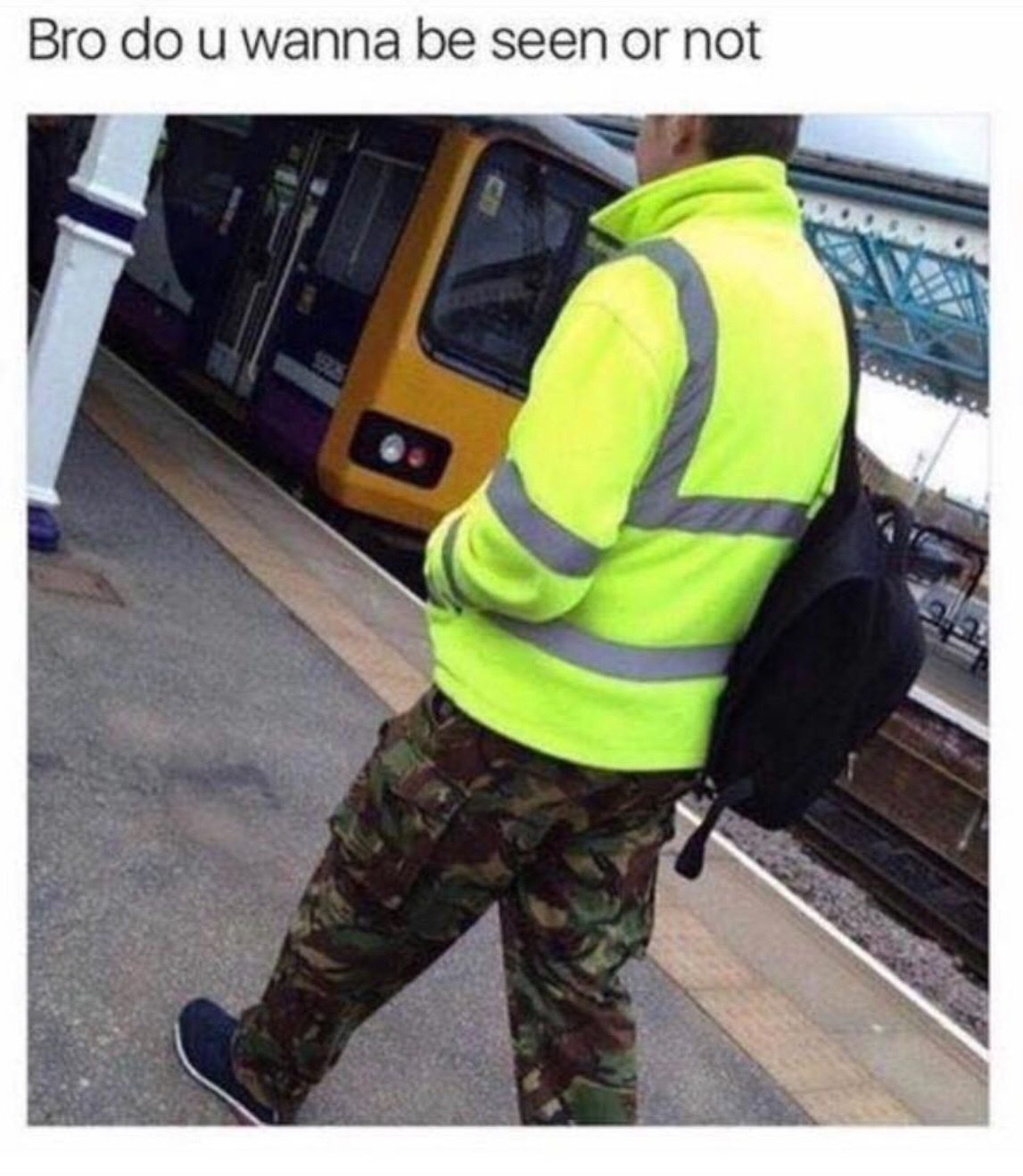 confused man in camo and hi-vis - meme
