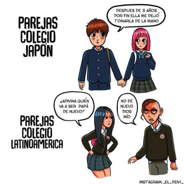 Parejas en colegió de Japón vs parejas en colegió de latinoamérica - meme