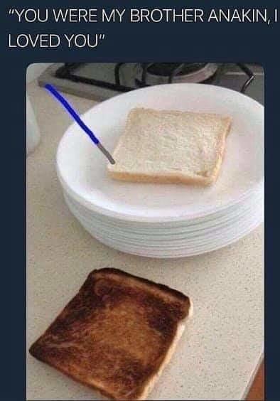 Les toasts c'est comme les enfants quand c'est noir c'est raté - meme