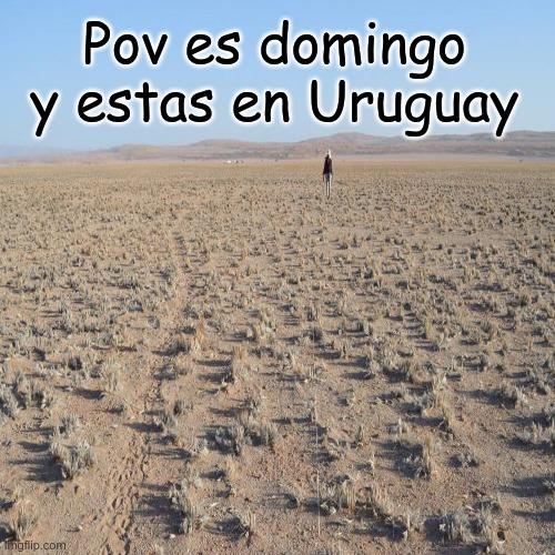 contexto: en Uruguay los domingos no anda nadie calle y pov quemado lo sé - meme