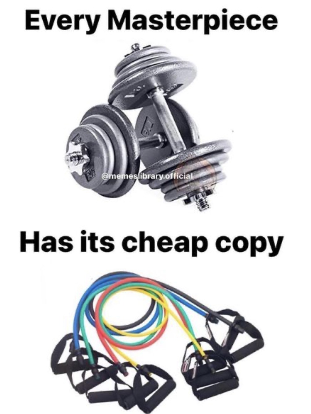 Stretchy rope with handle > Dumbbell - meme