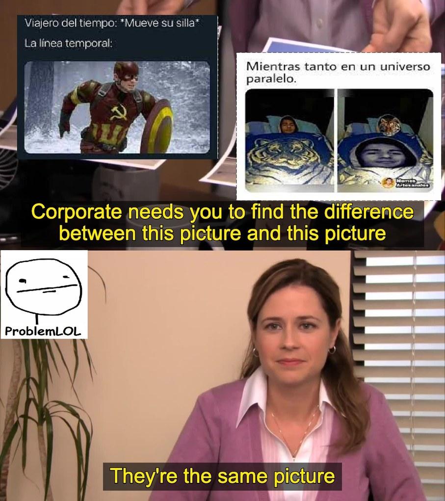 viajero de tiempo mueve una silla y mientras tanto en un universo paralelo son el mismo uso de meme