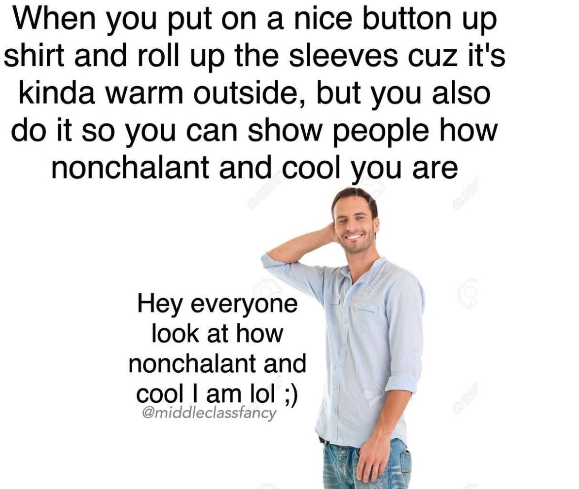 Title is nonchalant and cool - meme