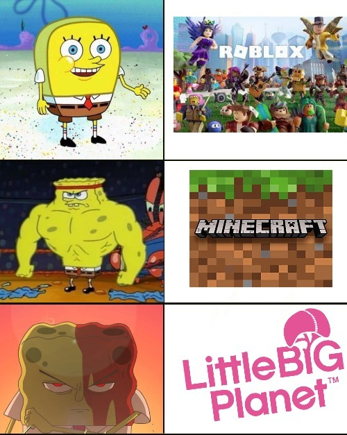 Roblox es virgin, Minecraft es chad, LittleBigPlanet es GOD - meme