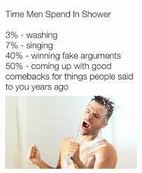 Time men spend in the shower - meme