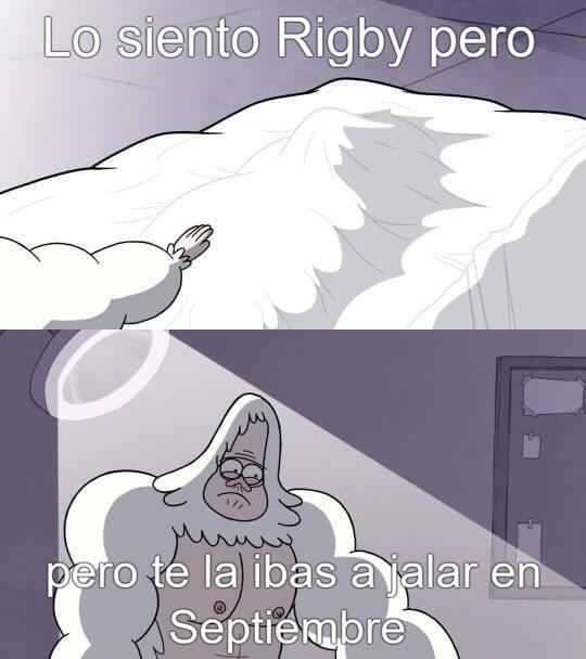 Rigby con deseos carnales - meme