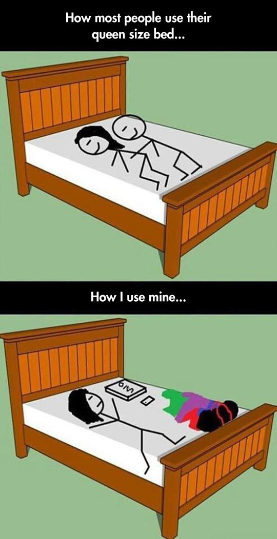 sleeping in a queen size bed... - meme