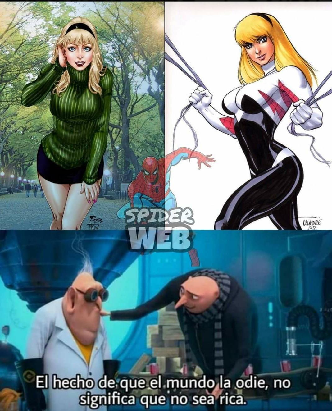Contexto: La odian porque en un cómic le fue infiel a Spider-Man con el duende verde y tuvo 2 hijos con este... Momo robado - meme