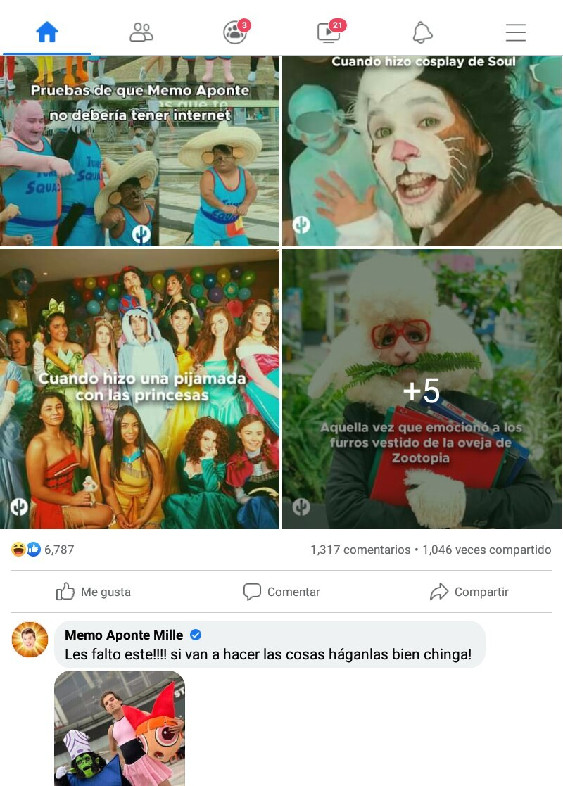 """Contexto: Una pagina de Facebook que no me acuerdo como se llama, compartio esta publicacion con las cosas mas vergonzosas que ha hecho Memo """"fan de cuties"""" Aponte, entonces este ultimo puso este comentario, rianse amigos, jajaja - meme"""