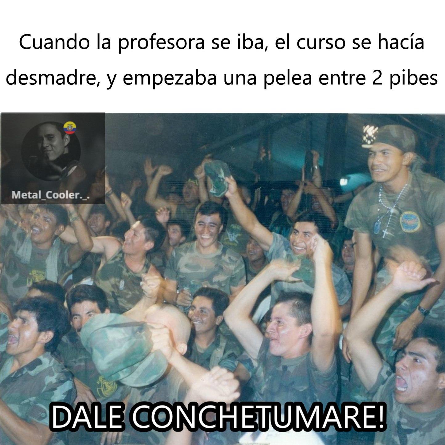 a quién no le pasó? PD:la foto es de soldados ecuatorianos en la guerra del cenepa, revisé material multimedia en google images, y ya que fue la última guerra más reciente en América, las imágenes son maravilla - meme