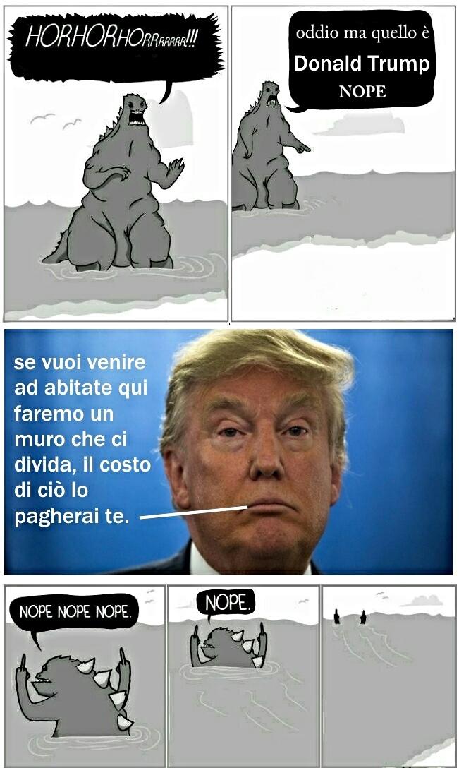 Muro, muro, muro e ancora muro nella testa di Trump solo mattoni ci sono... - meme