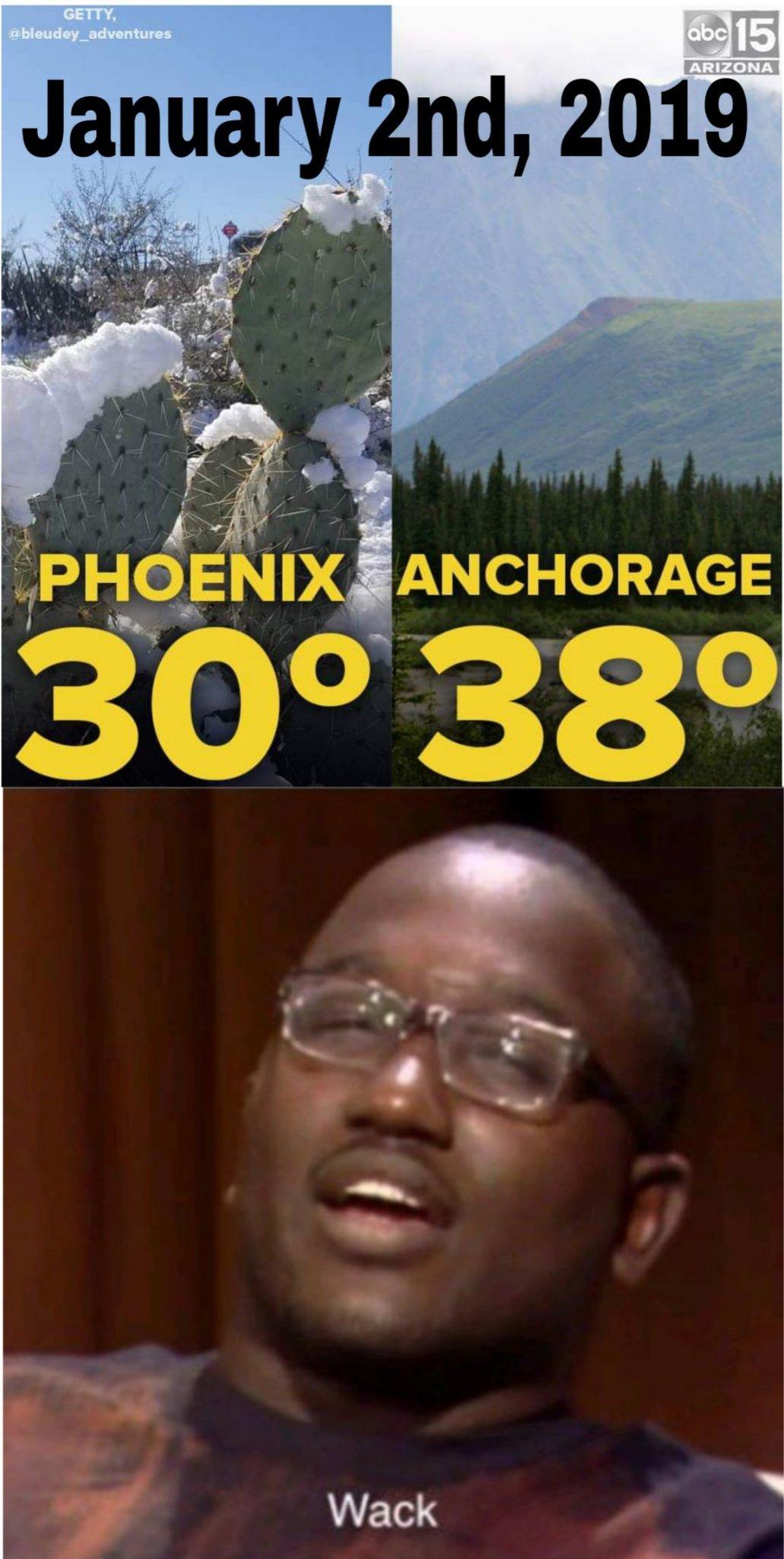 Arizona colder than Alaska? - meme