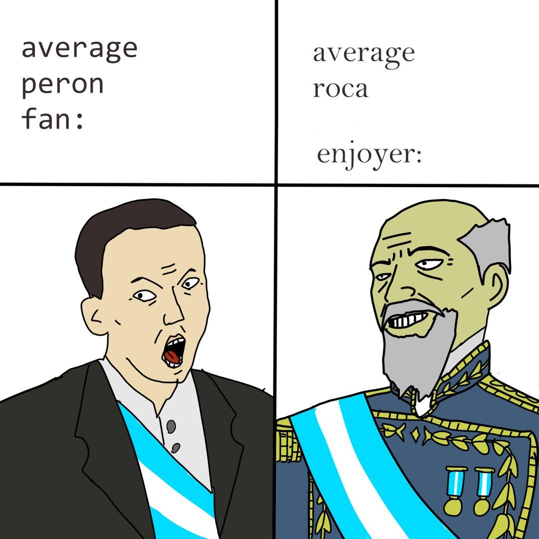 mi primer meme y un dibujo mío de hace un tiempo de virgin perón vs chad roca