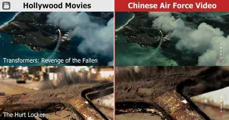 Chinese air force video showing a simulated bombing attack against US military base backfired after netizens realized that it contained footage from Hollywood - meme