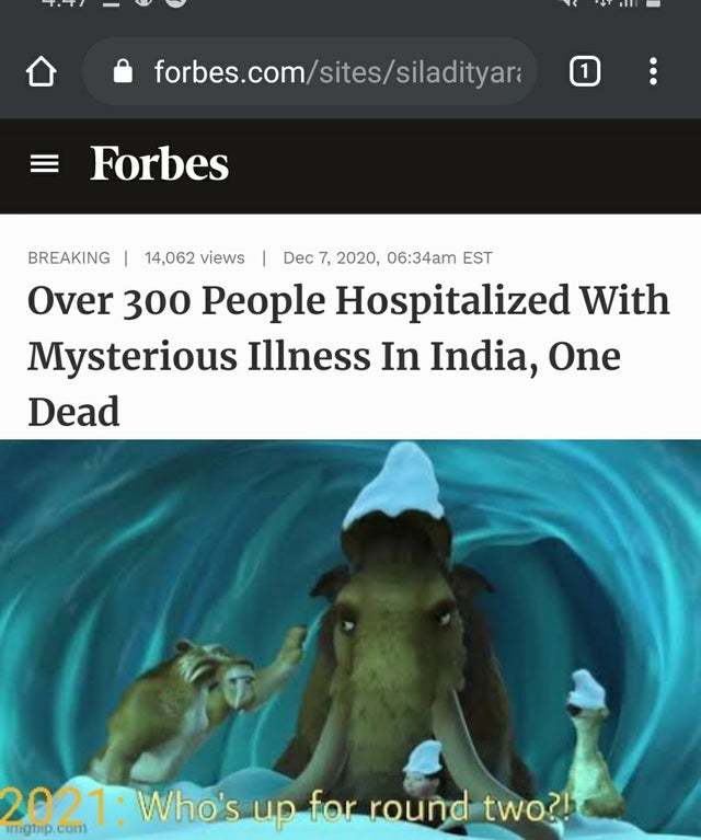 Over 300 pepole hospitalized with mysterious illness in India, one dead - meme
