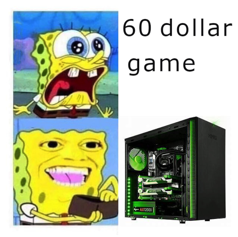 when you spend $2000 on a gaming pc but you don't want to spend $60 on the actual game - meme