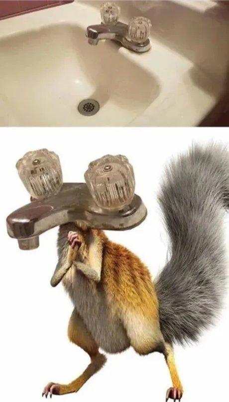 Como não tinha mais utilidade na era do gelo, virei torneira de banheiro... - meme