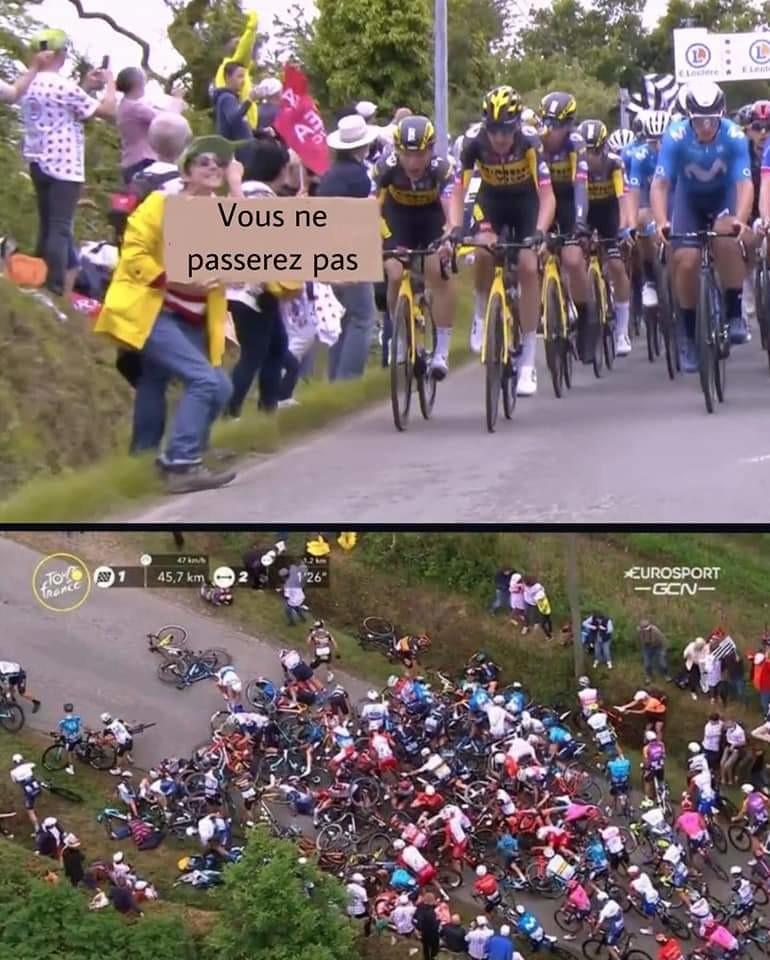 Chute au tour de France hier - meme