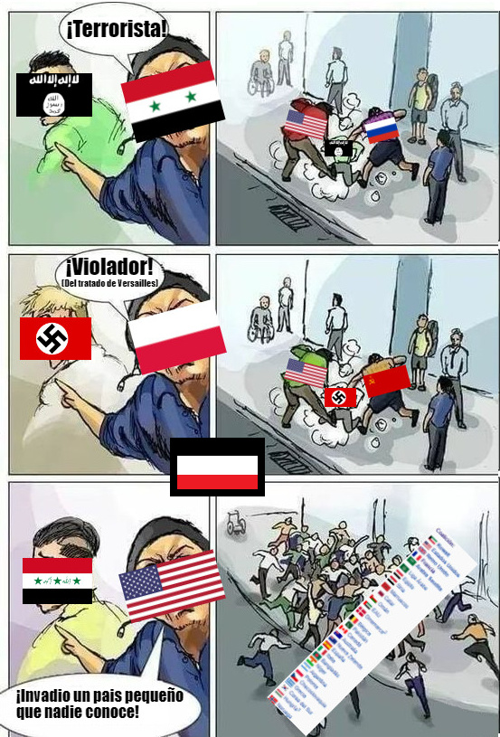 Coaliciones en 1800: Invadir muchos paises y ser un imperio poderoso Coaliciones en 1990: Invadir un pequeño pais irrelevante - meme
