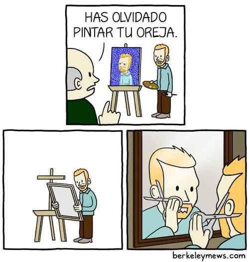 Verdadera historia de la oreja de van Gogh - meme