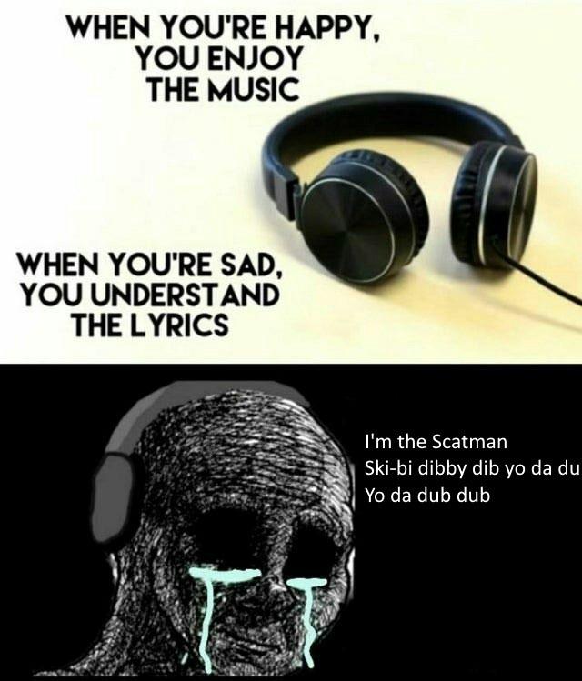 para el que no sepa la cancion se llama scatman ski ba bo ba dop dop - meme