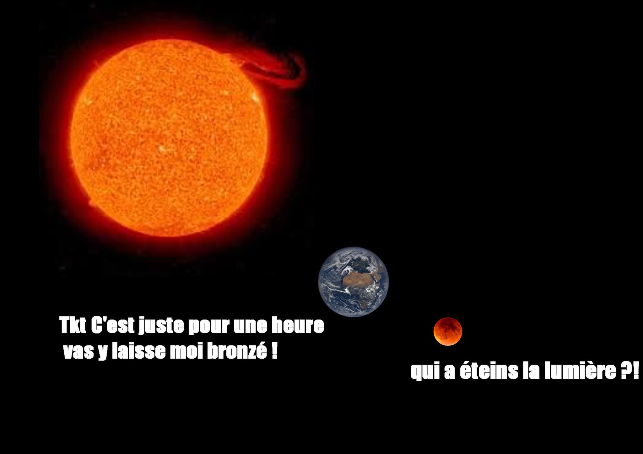 N'oubliez pas l'eclipse lunaire totale qui aura lieu le 27 juillet 2018 ^^ !!! (je sais c'est pas proportionnel mais on s'en tape) - meme