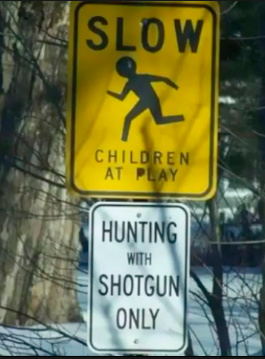 """""""debe ir despacio, niños jugando, cazar sólo con escopeta"""" una foto, un mensaje, y un meme...que relación tienen? todas son mierda..."""
