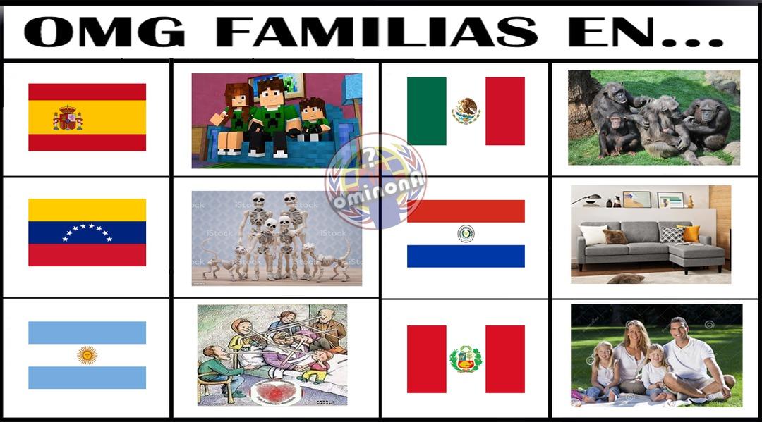 Familias en diferentes paises  - meme