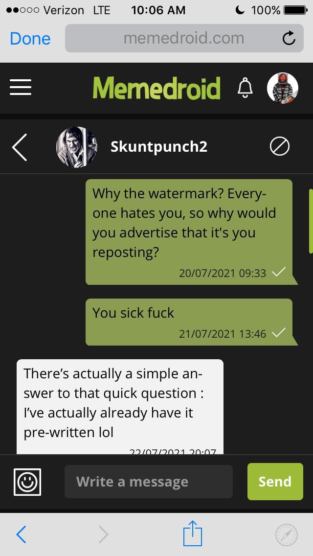 Actual response from skuntpunch Vol. 1 - meme