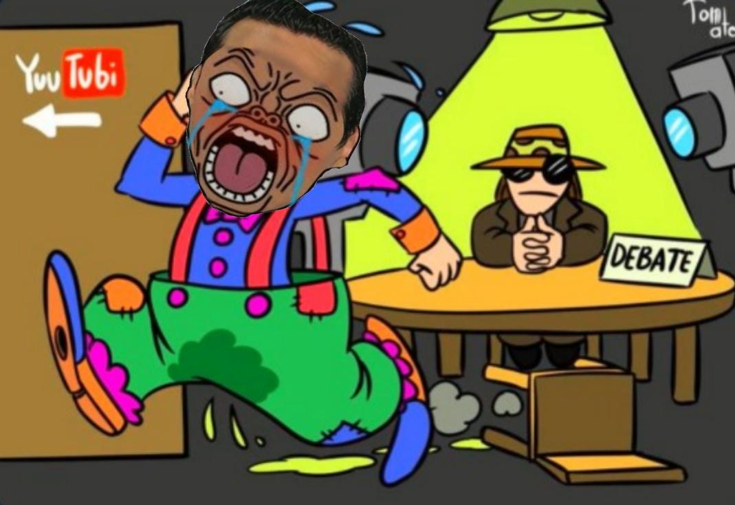 Jimmy Necrotemante a la hora de debatir - meme