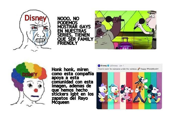 Contexto: Lo que pasa es que en la serie de Gravity Falls hay 2 personajes que son gays, haciendo que Disney intente censurarlos para que al final la casa del raton posteara esta imagen que ven en el meme en Twitter