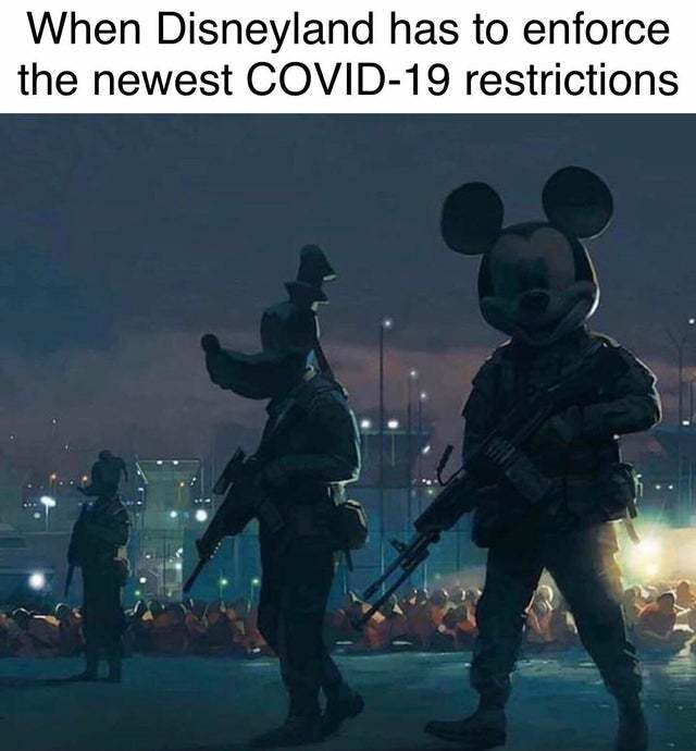 When Disneyland has to enforce the newest covid-19 restrictions - meme