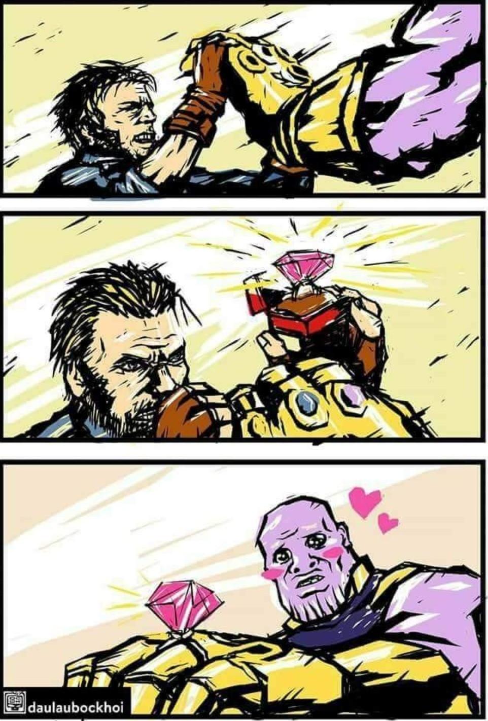 S-sempai? Se o Thanos tivesse percebido... - meme