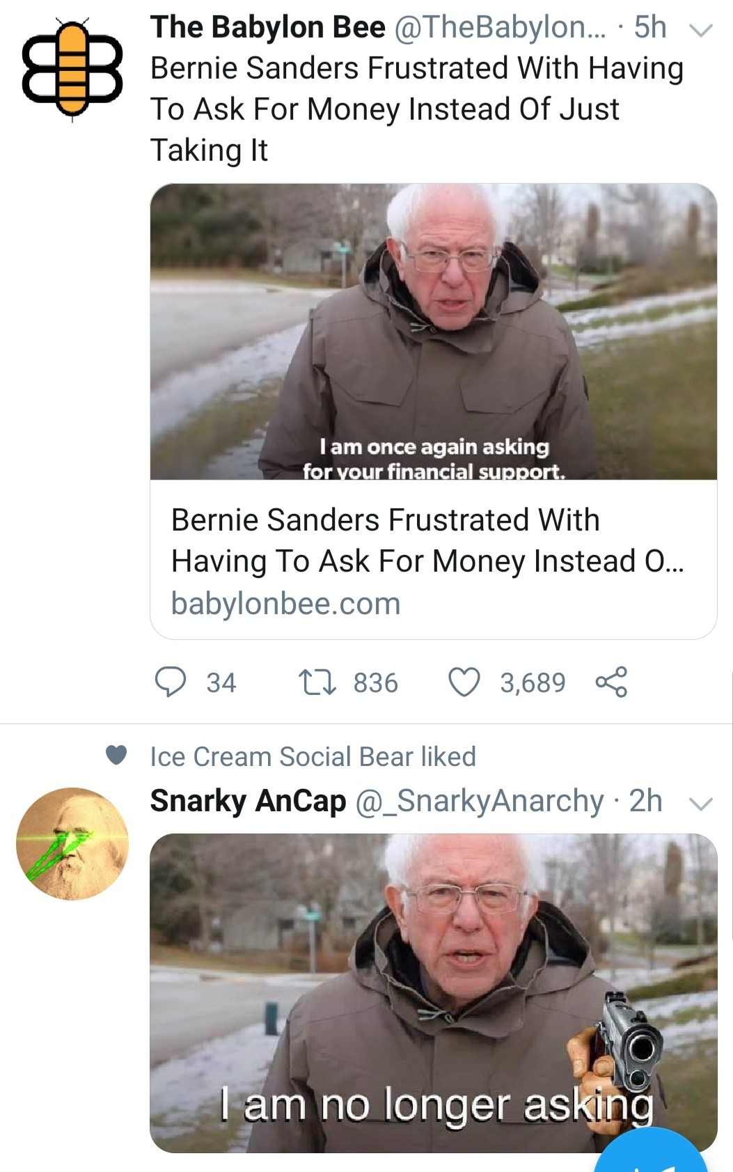 Bernie it's sick of asking - meme