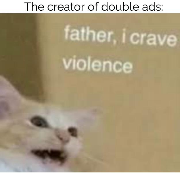i hate double ads. If anyone likes double ads, screw them - meme