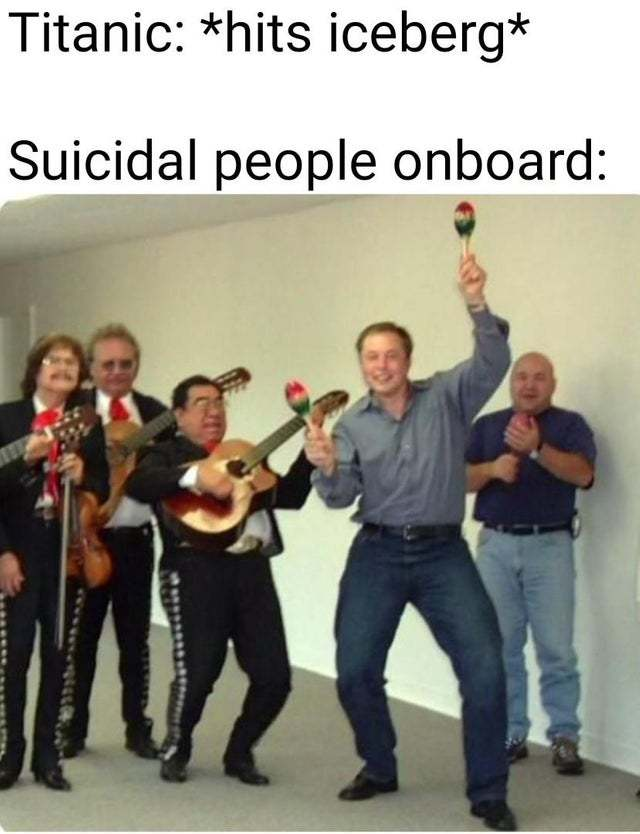 Suicidal people on the Titanic - meme