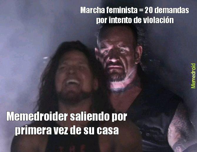 Marcha feminista = 20 demandas por intento de violación - meme