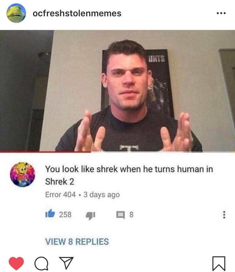 Tradução pra quem não fala inglês: Você parece com o Shrek quando ele vira humano no Shrek 2 SIGO DE VOLTA——> - meme