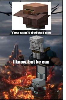 El esqueleto no puede matar al aldeano normalmente, pero el pillager....... - meme