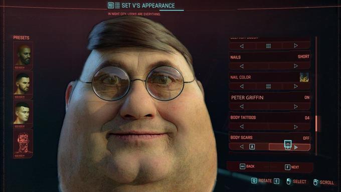 A legend made Peter Griffin in Cyberpunk 2077 - meme