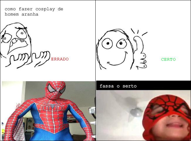cosplay de homem aranha - meme